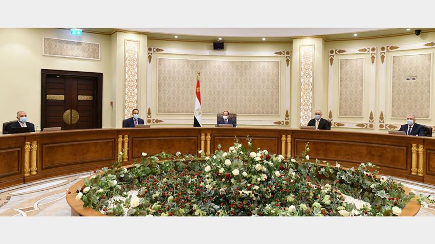President El-Sisi Meets with PM, Ministers and Officials